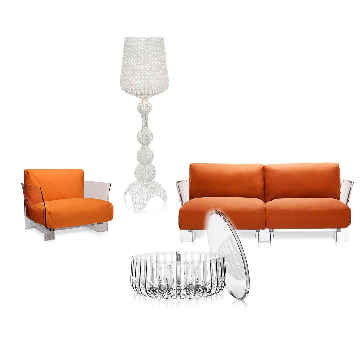 Set canapea, fotoliu, masa si lampa pentru exterior | KARTELL